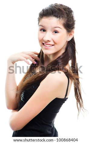 beautiful  teenager girl with long dark hair wearing black on isolated white background