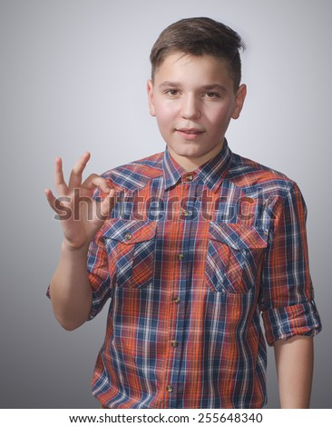 Beautiful teenager in a plaid shirt, showing OK sign on gray-white background - stock photo