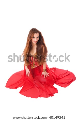 Beautiful tempting girl like a red flower - stock photo