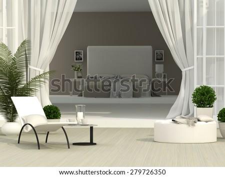 beautiful terrace and light bedroom - stock photo