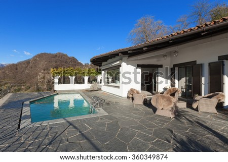 beautiful terrace with pool of a villa, outdoor