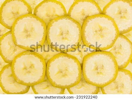 Beautiful texture of banana slices in the skins - stock photo