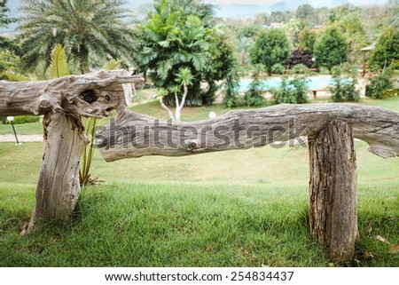 Beautiful texture of wooden fences in front of swimming pool