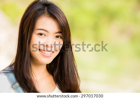 beautiful Thai  girl in park