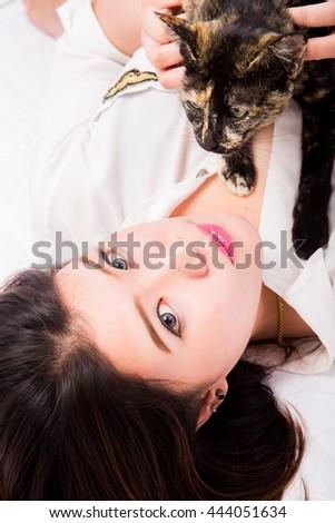 beautiful Thai girl with white  background - stock photo