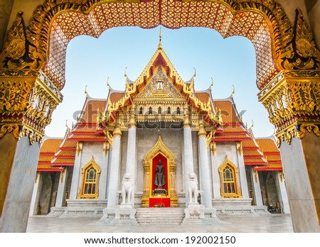 Beautiful Thai Temple Wat Benjamaborphit, temple in Bangkok - stock photo