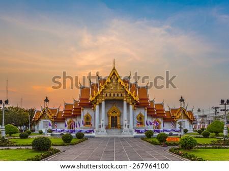 Beautiful Thai Temple Wat Benjamaborphit, temple in Bangkok - stock photo