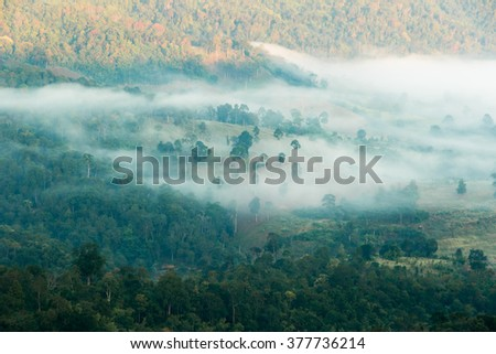 Beautiful Thailand landscape with hills and low clouds
