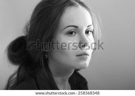 beautiful thoughtful young woman black and white concept sad depression - stock photo