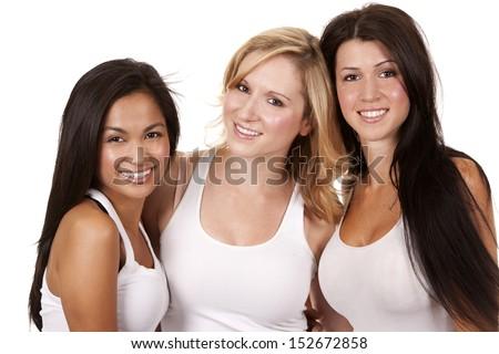 beautiful three women having fun on white background - stock photo