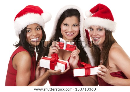 beautiful three women holding christmas presents on white background - stock photo