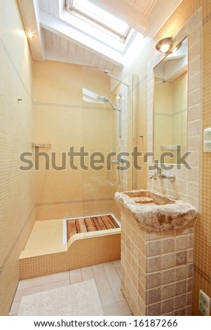 Beautiful tiled bathroom - stock photo