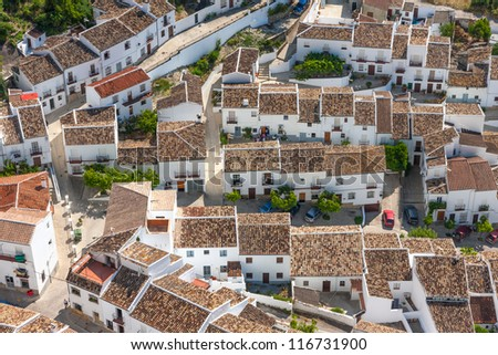 Beautiful tilings in old Spanish village - stock photo