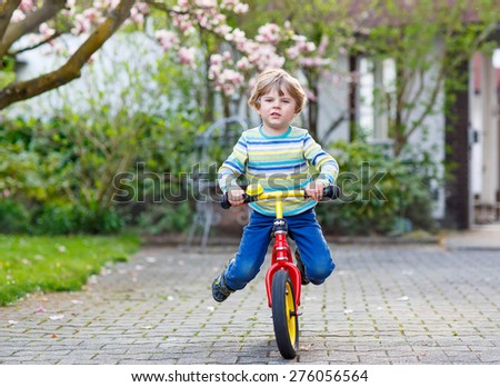 Beautiful toddler child driving his first bike or laufrad in park or garden on warm spring day. Happy kid having fun. Active leisure for kids outdoors. - stock photo