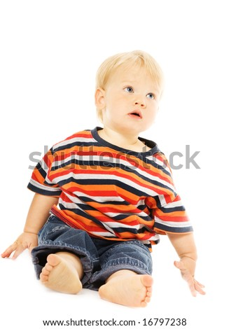 Beautiful toddler looking up. Isolated on white background - stock photo