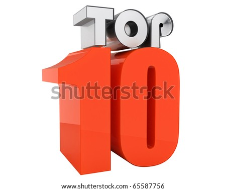 "beautiful ""TOP 10"" 3d-text isolated on white background - stock photo"