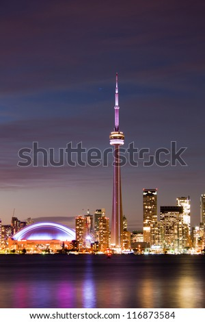 beautiful Toronto illuminated skyline night view. - stock photo