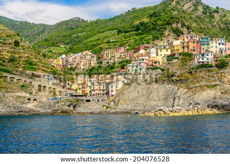 Beautiful town Manarola in Cinque Terre, Italy. - stock photo
