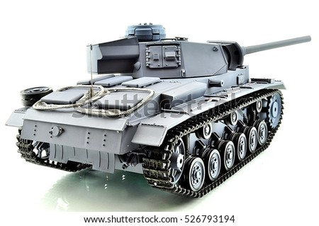 beautiful toy for children and adults, a copy of a military tank on the radio