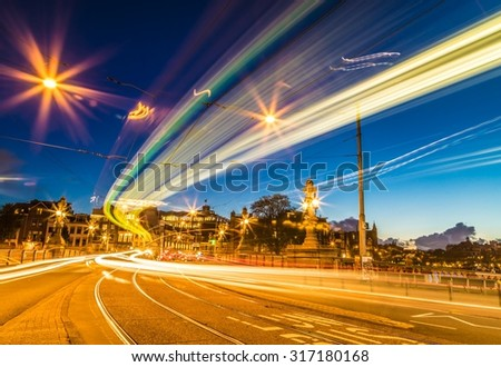 Beautiful Traffic light trails, in Amsterdam downtown. - stock photo