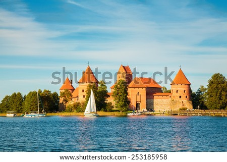 beautiful Trakai castle near Vilnius in Lithuania - stock photo
