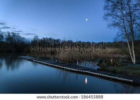 Beautiful tranquil moonlit landscape over lake and jetty - stock photo