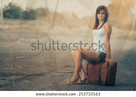 Beautiful traveler girl with paper effect