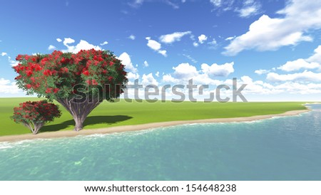 Beautiful tree grows on the Bank of the river - stock photo