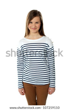 Beautiful trendy casual teenager posing with smile isolated over white - stock photo