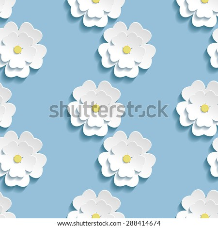 Beautiful trendy romantic background seamless pattern blue with white blossoming 3d flower sakura - japanese cherry tree. Floral stylish modern wallpaper. Raster illustration - stock photo