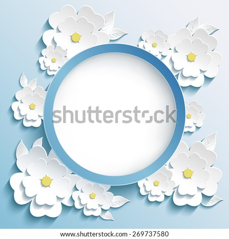 Beautiful trendy round frame with 3d white flowers sakura - japanese cherry tree and leaves. Greeting or invitation card with blossoming sakura. Modern stylish blue background. Raster illustration - stock photo