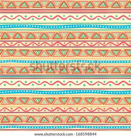 beautiful tribal striped abstract multicolored pattern with triangles