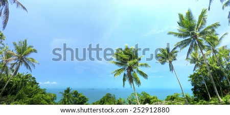 Beautiful tropical background with coconut palms. Samui, Thailand. Vintage filter - stock photo