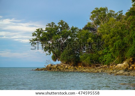 Beautiful tropical bay view at north of Labuan island known as Tanjung Kubung,Labuan Pearl of Borneo,Malaysia.