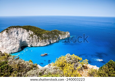 Beautiful tropical bay with caves and cliffs