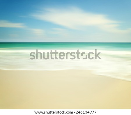 beautiful tropical beach, An abstract ocean seascape with blurred panning motion