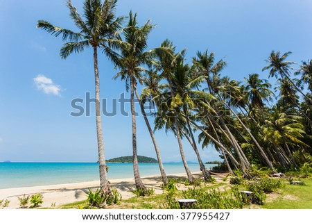Beautiful tropical beach at island Koh Chang , Thailand.