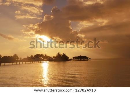 beautiful tropical beach background landscape nature sunset - stock photo