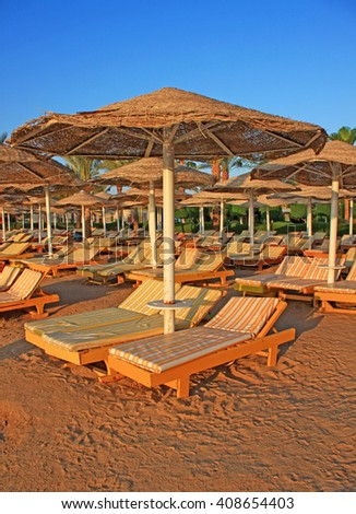 Beautiful tropical beach early morning. Hurghada , Egypt.