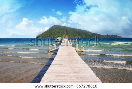 Beautiful tropical beach in Koh Rong Samloem , Cambodia  - stock photo