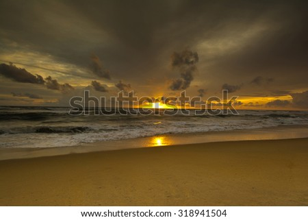 Beautiful Tropical Beach In Sri Lanka. Sri Lanka Is Endowed With Over A Thousand Miles Of Beautiful Golden Beaches That Are Fringed With Coconut Palms Making The Ideal Destination For A Beach Holiday - stock photo