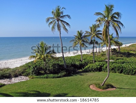 beautiful tropical beach shoreline Sanibel Island Florida - stock photo