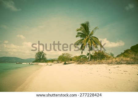 Beautiful tropical beach, Thailand - retro style postcard - stock photo