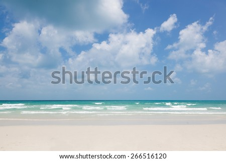 beautiful tropical beach, turquoise water and white sand - stock photo