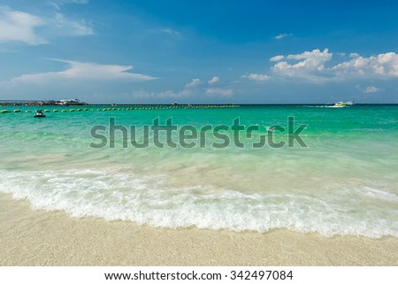 Beautiful Tropical beach with blue sky