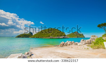 Beautiful tropical beach with sea view, clean water & blue sky at  island in Thailand.