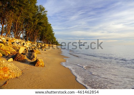 Beautiful tropical beach with sea view, clean water & blue sky. Nature background,select focus with shallow depth of field:ideal use for background