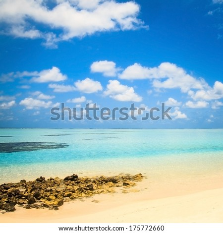 beautiful tropical beach with stove benches, Maldives - stock photo