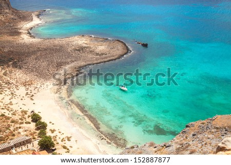 Beautiful tropical beach with turquoise water and white sand, Gramvousa island, Greece