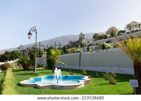 Beautiful tropical botanical gardens in La Orotava town, Tenerife island, Canarias, Spain - stock photo